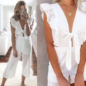 Pants - NEW! White Ruffle Sleeve Eyelet Lace Jumpsuit